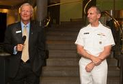 Adm. John Greenert, chief of Naval operations, spoke at the Fantail Breakfast on June 26 at the Navy Memorial in D.C.'s Penn Quarter. He was introduced by retired Vice Adm. John Totushek, CEO of the U.S. Navy Memorial Foundation.