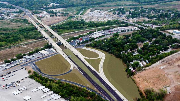 Rendering of the new I-70 Manchester Bridge. The wide spacing between eastbound and westbound lanes is where the current bridge stands.
