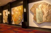 Mosaics salvaged from the old Mercantile Bank building greet visitors to the new ball rooms.