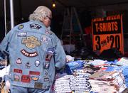 Vendors set up their tables and the welcome mat for thousands of prospective buyers during Bike Week.