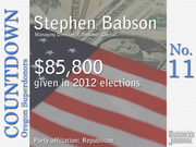 #11. Stephen Babson - Managing Director, Endeavour Capital   Total contributions: $85,800 Republican Party contributions: 100% Democratic Party contributions: 0%