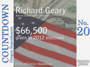 #20. Richard Geary - Retired (Kiewit Pacific Company)   Total contributions: $66,500 Republican Party contributions: 100% Democratic Party contributions: 0%