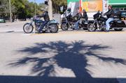 The shadow of a palm tree falls just short of a group of bikers waiting at a stop light on Main Street.