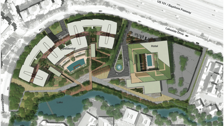 A Site Plan For The Project Shows Apartment And Hotel Buildings Orientation Along Lakeside
