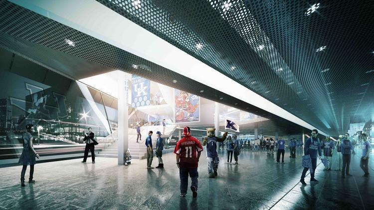 Among the planned features for a renovated Rupp Arena are expanded concourse spaces, a revitalized bowl with chair-back seats, and a new hospitality level with premium suite seating.
