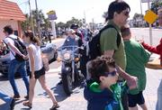 Biker traffic gives way to foot traffic at the intersetion of Atlantic Avenue and Beach Street.