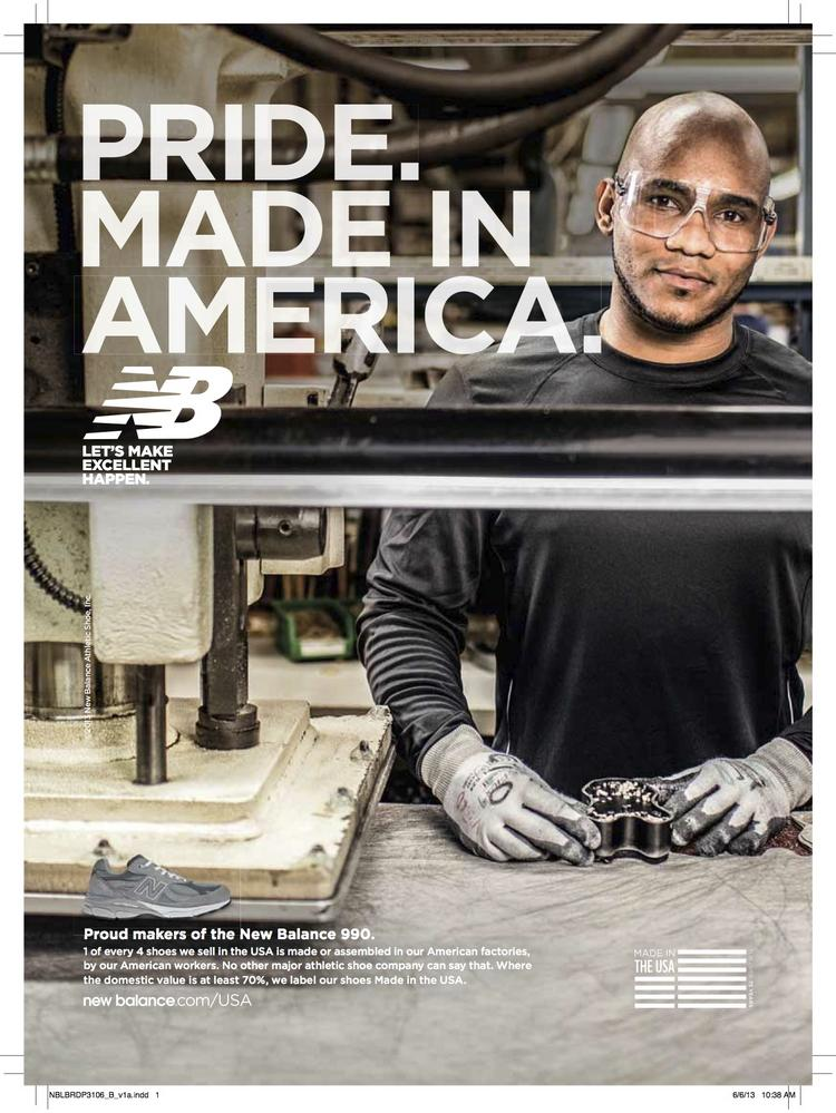 New Balance took out ads in Sports Illustrated to promote its domestic manufacturing operations. Its new sock licensee, Mount Airy-based Renfro Corp,, said the two companies share that value.