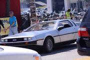 Even without a flux capacitor, this DeLorean stood out on the street.