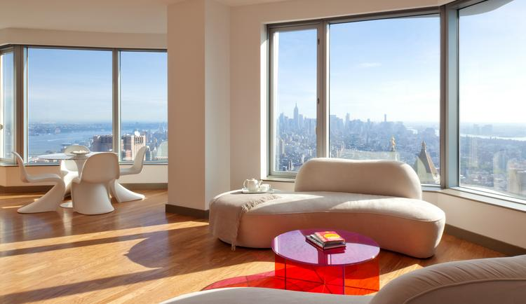 A view of a north-facing model apartment on the 57th floor of 'New York by Gehry,' a rental residential tower in Manhattan near the Brooklyn Bridge.