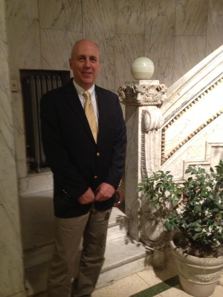 Mark Wells, principal of Rockmere Properties LLC, in the marble-clad lobby of his new building, the Bank Tower