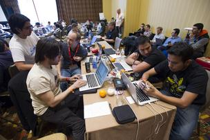 Attendees work on startup projects at the South By Southwest Conference in Austin, Texas, on Sunday. The 20th annual SXSW Interactive Festival takes place through Tuesday and includes 11 Bay Area companies who are making pitches in the startup competition.