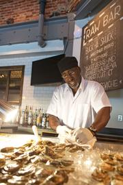 Oyster shucker Will Burris gets ready for Buck-A-Shuck at the Chesapeake.