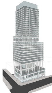 Down the street from the Columbia Building is where Urban Visions is planning to build this high-rise, which will have retail and office space as well as residences.