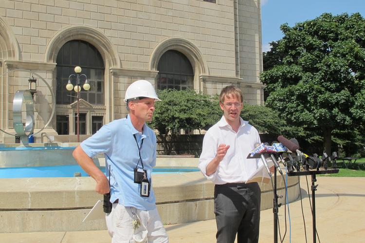Gary Waszak (left), county facilities maintenance manager, and County Executive Chris Abele gave an update on the cleanup project last Wednesday.