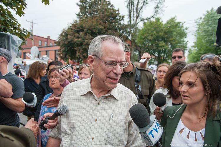 Edward Burkhardt, chief executive officer of Rail World Inc., owner of Montreal, Maine & Atlantic Railway Ltd., speaks to the media in Lac-Megantic, Quebec, earlier this month.