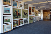 A part of Portland Meadows' sweeping rebranding campaign, this art is displayed at the main lobby entrance at the raceway.