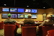 The off-track betting room at Portland Meadows provides a comfortable place for bettors to view all the stats and lineups for the day's races.