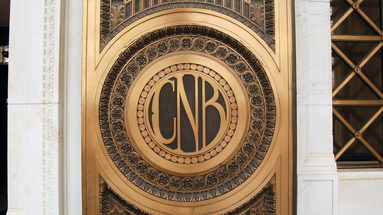 Detail of the door of the Colorado National Bank building at Champa and 17th Streets. It is now the Renaissance Denver Downtown City Center Hotel.