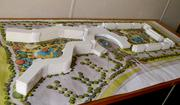 A scale model of Universal's Cabana Bay Beach Resort gives a preview of the layout of the late 1950s-style beach resort.