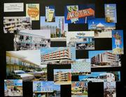 Postcard art from the 1950s and 60s used as reference for the design of the Cabana Bay Beach Resort.