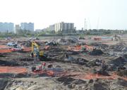 Ground work and infrastructure progress at the future site of the resort's arrival building.