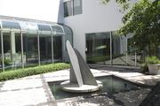 """The outdoor """"pipe"""" sculpture on the South Lawn was designed by Charles Gwathmey."""