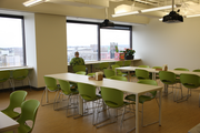SurveyMonkey's ample break room accommodates employees who lunch together and other events.