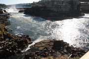 Rediscovering The Waterfront The Portland area seems to rediscovered its passion for the Willamette River, largely inaccessible to the public. From the Blue Heron Paper Co. property in Oregon City to Centennial Mills near the Broadway Bridge, developers are looking for ways to reuse old properties and connect people to the actual water. THis image offers a close-up view of Willamette Falls, second only to Niagara Falls for the volume of water that pours over. The falls are largely off-limits to the public — for now.