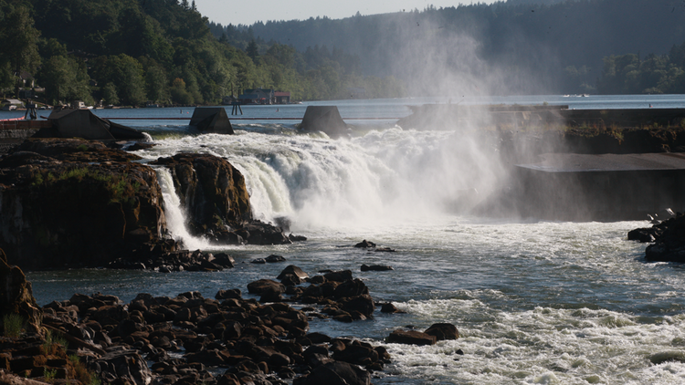 Portland General Electric has generated power at Willamette Falls since June 3, 1889. Today marks the 125th anniversary of the first long-distance power transmission line in the U.S. Power generated in Oregon City was transmitted to downtown Portland to electrify street lights.