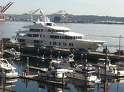 The brand new mega yacht Invictus was parked at Pier 66 recently before being delivered to its owners, an unnamed American family. The yacht was built by Delta Marine on the Duwamish Waterway.