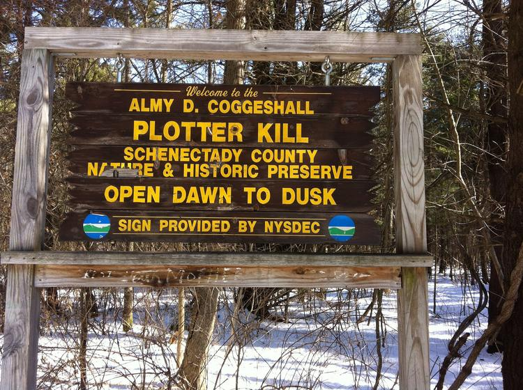 The Route 159-Mariaville Road entrance to the Plotter Kill Nature Preserve in Rotterdam, Schenectady County.