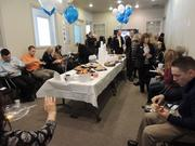 Employees at Sente Mortgage enjoy a party.