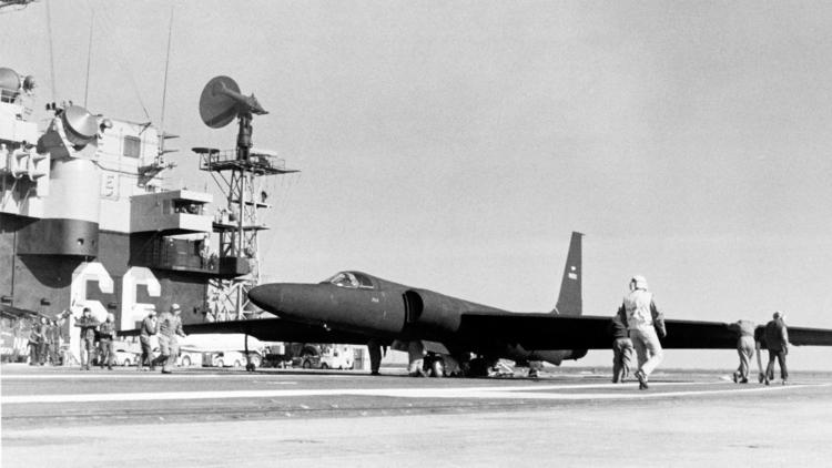 A Left Front View Of U 2 Reconnaissance Aircraft Parked On The Flight Deck