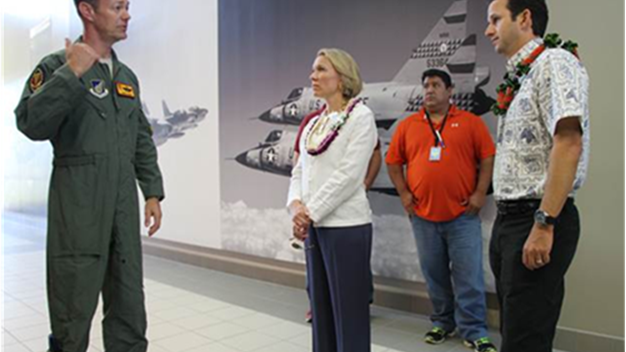 Sen. Brian Schatz met with leaders at Joint Base Pearl Harbor-Hickam and toured facilities impacted by the cooperative agreement on Wednesday.