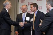 From left: A.R. Mullinax, Duke Energy; award winner Craig Richardville, Carolinas HealthCare System; and Kevin Pitts, president and publisher of the Charlotte Business Journal.