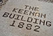Floor tiles in the lobby speak to the history of the Keenan Building in downtown Troy, NY.