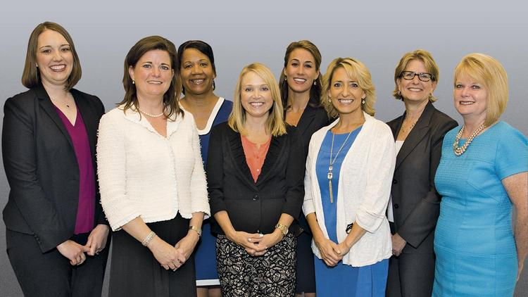 From left to right: Erin Prest, Diane Compardo, Pier Alsup, Wendy Menghini, Beth Sheley, Jown Malloy, Ann Holtshouser, Christine Burghoff