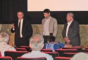 From left, Monarch Corp. president David Mitchell, HUSCO International president Austin Ramirez and Weldall Manufacturing president and chief executive officer Dave Bahl Sr. spoke at a panel discussion on manufacturing in Milwaukee after the movie ended.