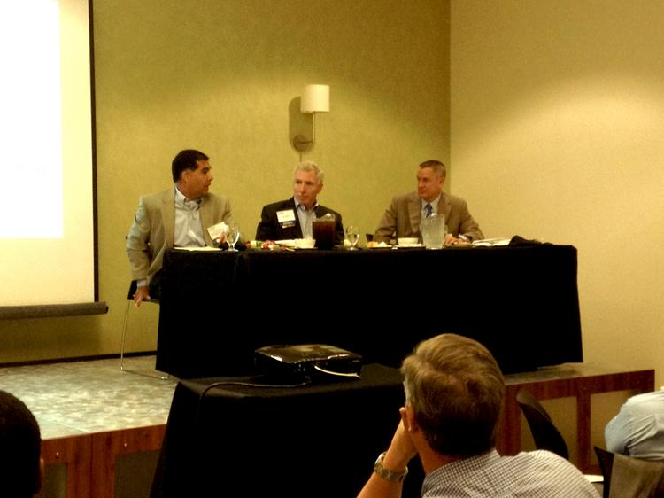 From left: Simon Property Group Inc.'s Paul Ajdaharian, The Mall at Millenia's Steven Jamieson and Crossman & Co.'s John Crossman provided updates on Central Florida's malls during a Naiop Central Florida event on July 11.