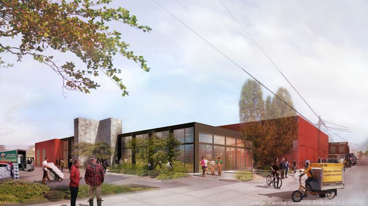 An artist's rendering of the Marble, one of the buildings in Ecotrust's ambitious food incubator, envisions a buzzing commercial center in Portland's Central Eastside. Click through for views inside the project.