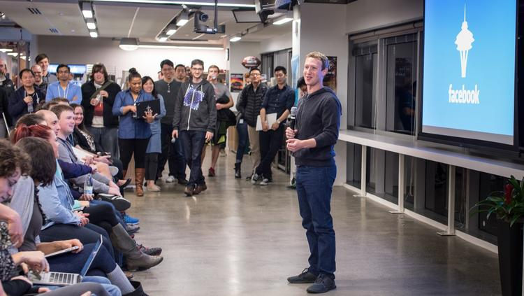 Facebook CEO Mark Zuckerberg Talks To Staff At The Seattle Office. The  Company Has Been