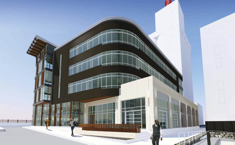 The new design for the Pabst office building is an update over an earlier design that had more brick and a more industrial look.