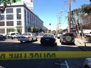 The scene near 888 Brannan shortly after a fatal shooting took place.