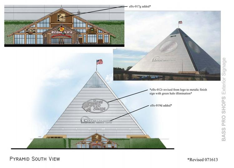 The south view of the new proposed Bass Pro pyramid signs, which was approved Tuesday.