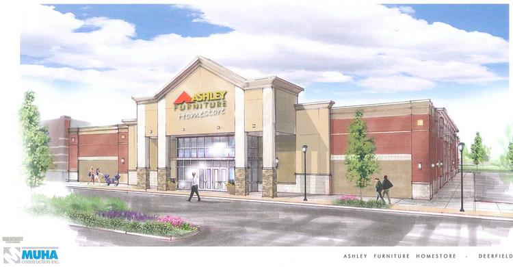 A rendering of the Ashley Furniture HomeStore planned for Deerfield Crossing Shopping Center.