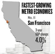 No. 11 -- San Francisco, where the metropolitan GDP rose by 4.0 percent in three years to $347 billion in 2011.