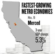 No. 9 -- Merced, where the metropolitan GDP rose by 5.3 percent in three years to $6 billion in 2011.