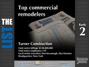 2: Turner Construction  The full list of top commercial remodelers - including contact information - is available to PBJ subscribers.  Not a subscriber? Sign up for a free 4-week trial subscription to view this list and more today