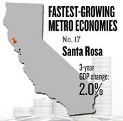 No. 17 -- Santa Rosa, where the metropolitan GDP rose by 2.0 percent in three years to $20 billion in 2011.