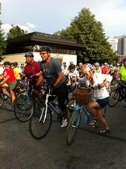 Michael Coleman led a crowd of cyclists from COSI for a tour of downtown Friday evening in his annual Mayor's Twilight Ride.